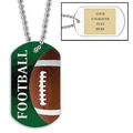 Personalized Football Dog Tags w/ Engraved Plate