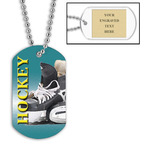 Personalized Hockey Skates Dog Tags w/ Engraved Plate
