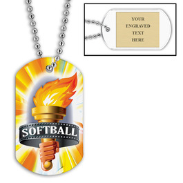 Personalized Softball Torch Dog Tags w/ Engraved Plate