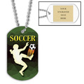 Personalized Soccer Player Dog Tags w/ Engraved Plate