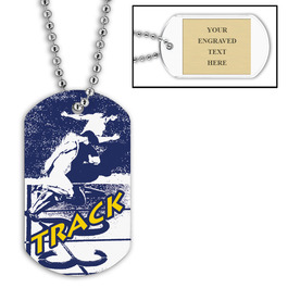 Personalized Track Dog Tags w/ Engraved Plate