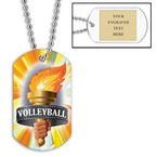 Personalized Volleyball Torch Dog Tags w/ Engraved Plate