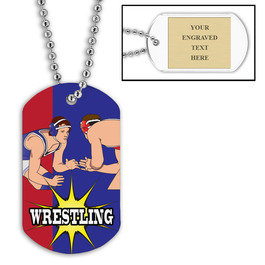 Personalized Wrestling Stance Dog Tags w/ Engraved Plate