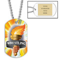 Personalized Wrestling Torch Dog Tags w/ Engraved Plate