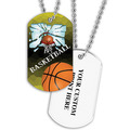 Personalized Basketball Hoop Dog Tags w/ Print on Back