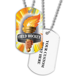 Personalized Field Hockey Torch Dog Tags w/ Print on Back