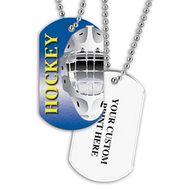 Personalized Hockey Helmet Dog Tags w/ Print on Back