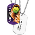 Personalized Softball Dog Tags w/ Print on Back