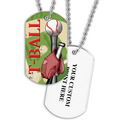 Personalized T-Ball Dog Tags w/ Print on Back