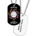 Personalized Volleyball Wreath Dog Tags w/ Print on Back