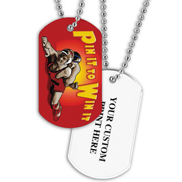 Personalized Wrestling Pin It Dog Tags w/ Print on Back