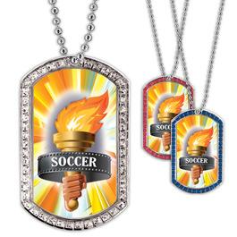 Full Color Soccer Torch GEM Dog Tags