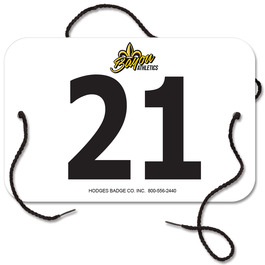 Indurotec(TM) Custom Full Color Small Rectangular Sports Exhibitor Number w/ String