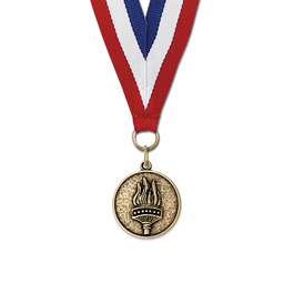 CX Sports Award Medal w/ Red/White/Blue or Year Grosgrain Neck Ribbon