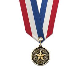 CX Sports Award Medal w/ Specialty Satin Neck Ribbon