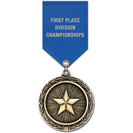 LX Sports Award Medal w/ Satin Drape Ribbon