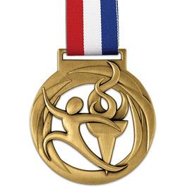 Atlas Medal w/ Red/White/Blue Grosgrain Neck Ribbon