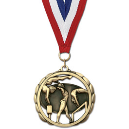 ES Sports Award Medal w/ Grosgrain Neck Ribbon
