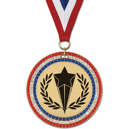 Stock GEM Sports Award Medal w/ Red/White/Blue or Year Grosgrain Neck Ribbon