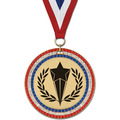 Stock GEM Sports Award Medal w/ Red/White/Blue or Year Grosgrain Neck Ribbon