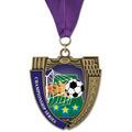 MS Mega Shield Full Color Sports Award Medal w/ Grosgrain Neck Ribbon
