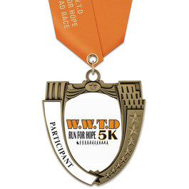 MS14 Mega Shield Sports Award Medal w/ Satin Neck Ribbon
