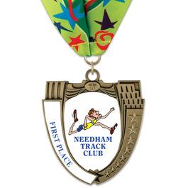 MS14 Mega Shield Sports Award Medal w/ Millennium Neck Ribbon