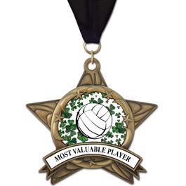 AS14 All Star Sports Award Medal w/ Grosgrain Neck Ribbon
