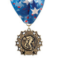 Ten Star Sports Award Medal with Millennium Neck Ribbon
