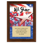 All Star Sports Award Plaque - Cherry Finish