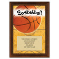 Basketball Award Plaque - Cherry Finish