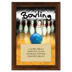 Bowling Award Plaque - Cherry Finish