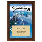 Swimming Award Plaque - Cherry Finish