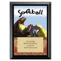 Softball Black Wood Sports Plaque