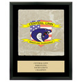 Full Color Sports Award Plaque - Black w/ Tumbled Stone Tile & Engraved Plate