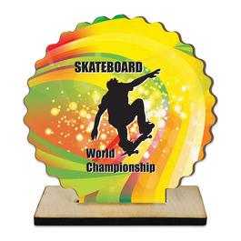 Custom Shape Birchwood Award Trophy w/ Natural Birchwood Base