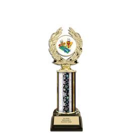 "10"" Black HS Base Award Trophy w/ Insert Top"