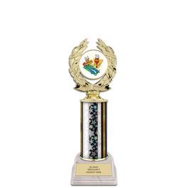 "10"" White HS Base Award Trophy w/ Insert Top"