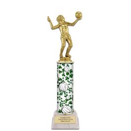 "12"" White HS Base Sports Award Trophy w/ Custom Column"