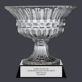 Large Optical Crystal Sports Award Bowl Trophy w/ Attached Base