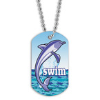 Full Color Swim Dolphin Dog Tag