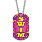 Full Color Swim Pink Dog Tag