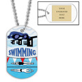 Personalized Swim Goggles Dog Tag w/ Engraved Plate