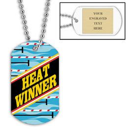Personalized Swim Heat Winner Dog Tag w/ Engraved Plate