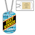 Personalized Swim Heat Winner Dog Tag w/ Engraved Plate