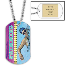 Personalized Swim Crawl Dog Tag w/ Engraved Plate
