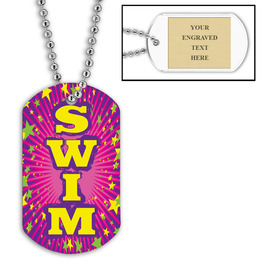 Personalized Swim Pink Dog Tag w/ Engraved Plate