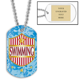 Personalized Swim Shield Dog Tag w/ Engraved Plate