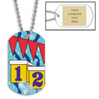 Personalized Swim Starting Blocks Dog Tag w/ Engraved Plate