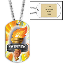 Personalized Swim Torch Dog Tag w/ Engraved Plate